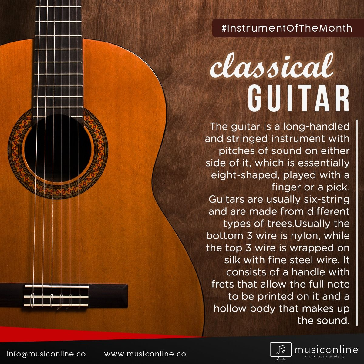 This month's instrument is the indispensable instrument of every musical genre; the 'guitar'. . . . #musiconline #instrumentOfTheMonth #instruments #guitar #GuitarPlayers #GuitarLove #GuitarLessons #MusicIsLove #MusicIsLife #MusiciansLife #LearnMusic #MusicLessons #OnlineMusic #musicAcademy #instrumentalMusic #GuitarLesson #music #online #learn #lesson
