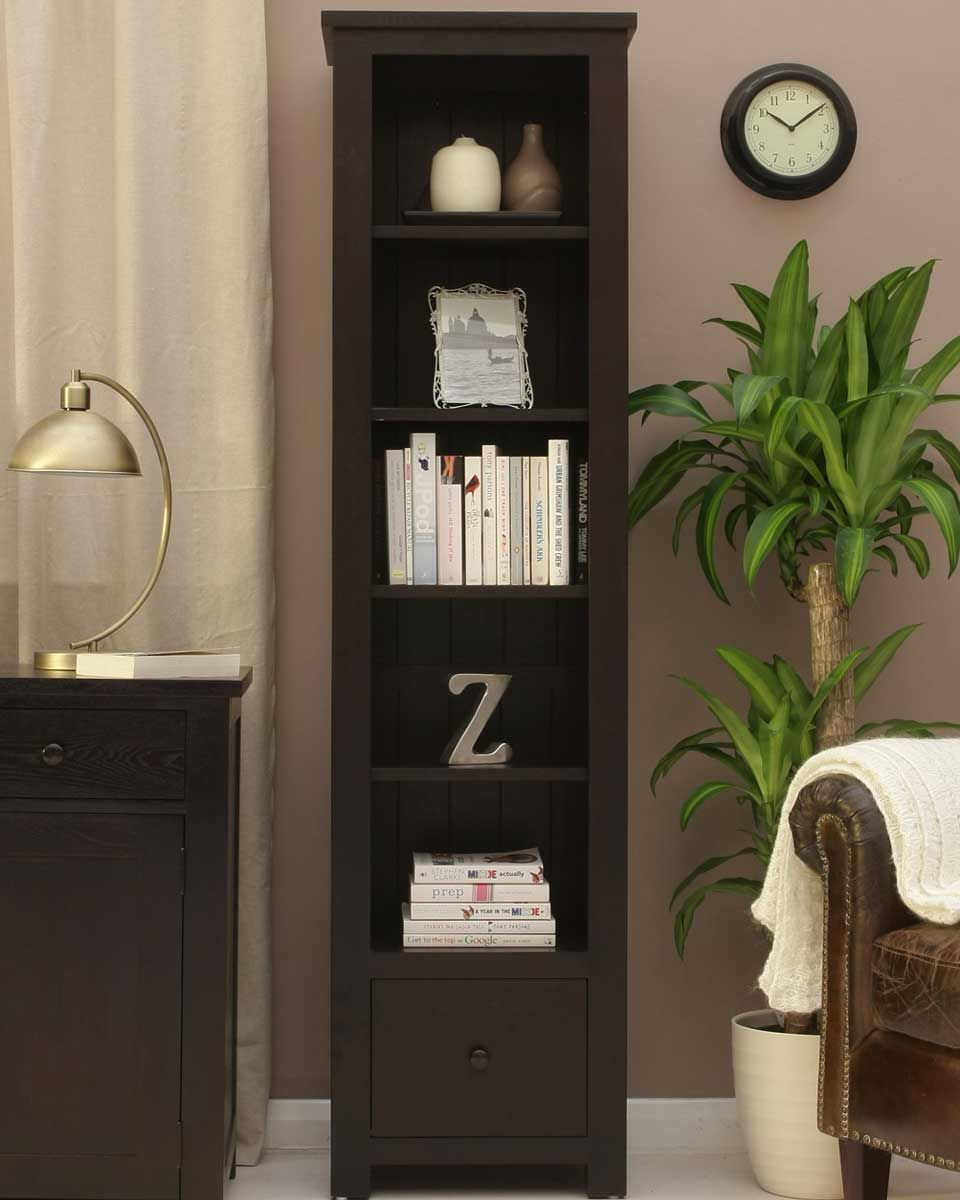 Dark Wood Tall Narrow Bookcase This contemporary tall, narrow bookcase can  be mixed and matched