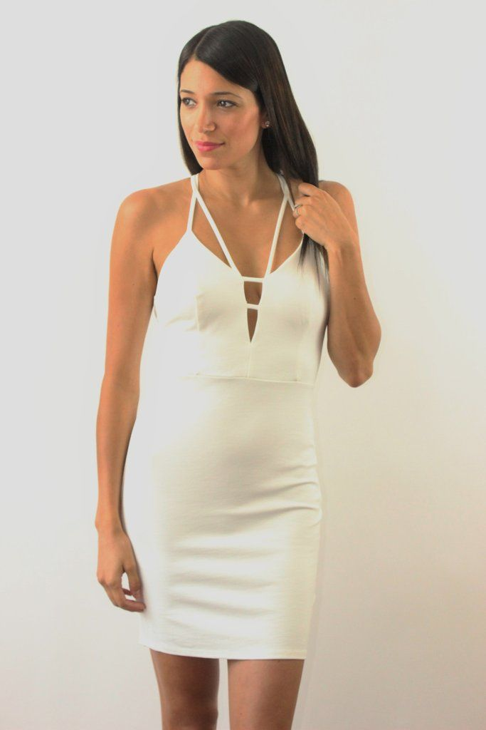 dee3e5c44899 This sexy white bodycon dress is perfect for a night out. Have all eyes on  your in this fitted white dress. Dress features a zip up back with flirty  top ...