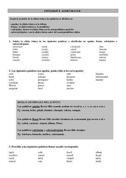 Ejercicios de Ortografía y Acentuación para ESB