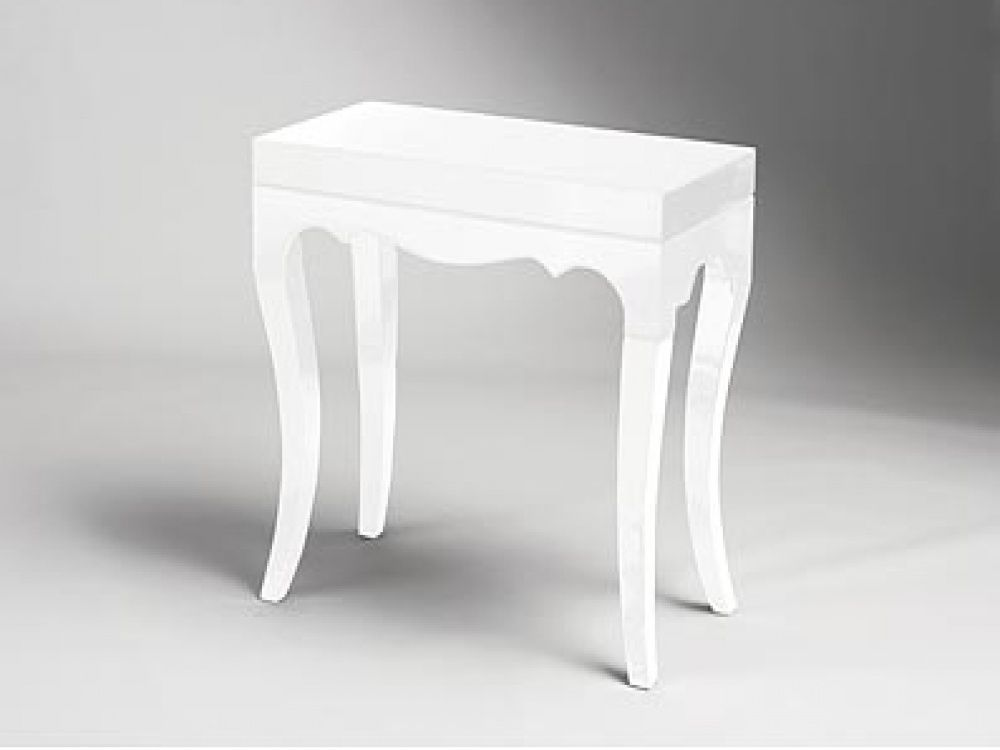 Superieur Roccoco Small White High Gloss Accent Console Table