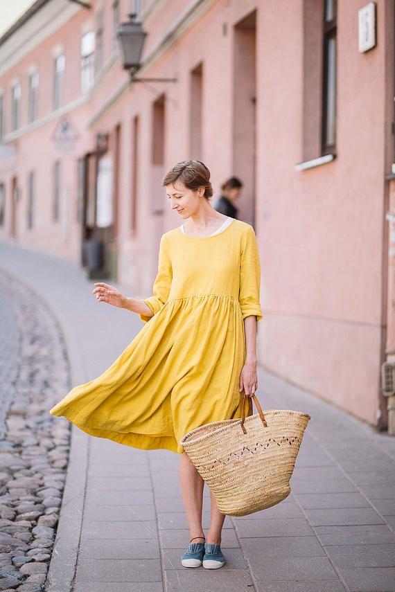 Mustard Linen Dress, Women Linen Clothing, Linen Maxi Dress, Yellow ...