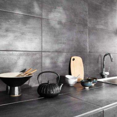 Carrelage Mural Et Plan De Travail Cuisine Effet Metal Gris Carrelage Mural Cuisine Carrelage Cuisine Faience Cuisine