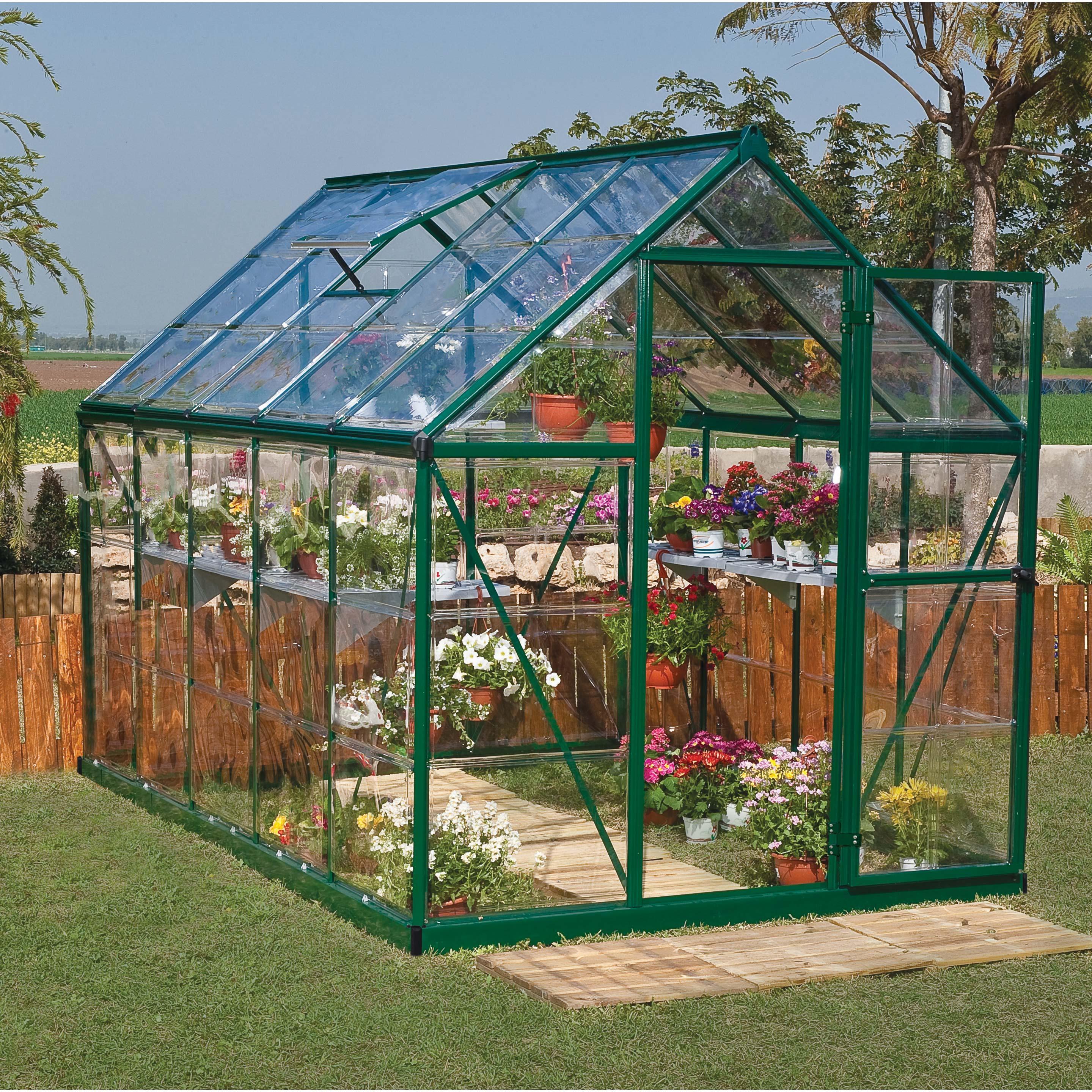 Serre de jardin verte HARMONY 5.6 m², aluminium et ...