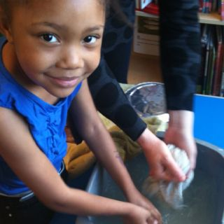 Washing up station after library crafts.
