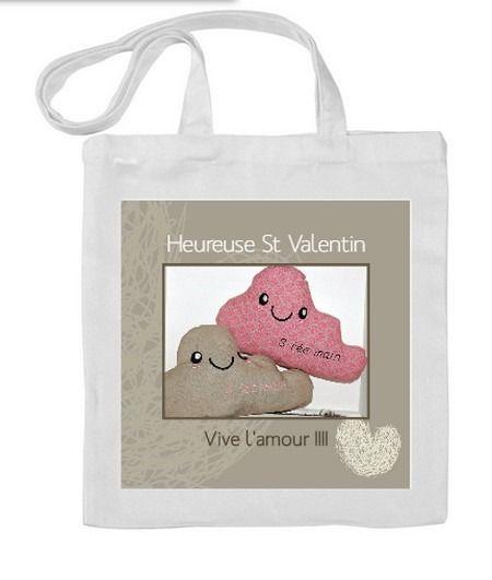 Sac shopping Tote bag personnalisé Idéal cadeau saint valentin photo texte logo : Autres sacs par s-fee-mains