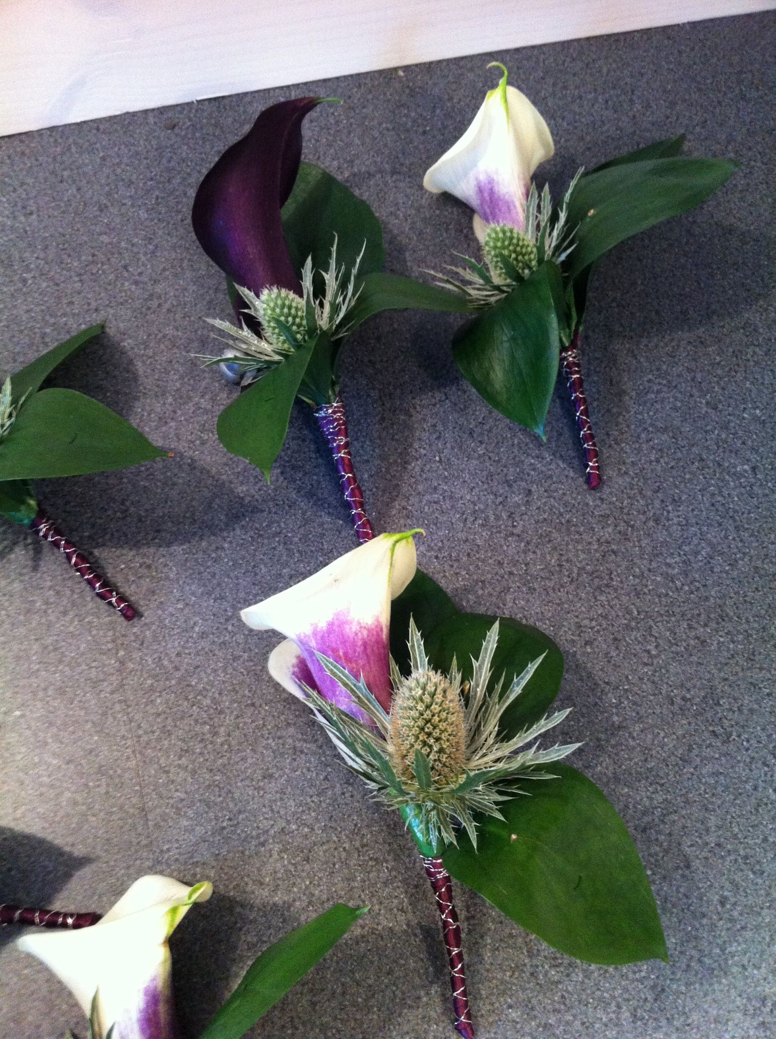 Wedding Party Buttonholes Calla Lily Thistle Flowers Surrey