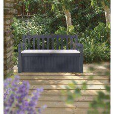 Coffre de jardin résine Eden garden bench gris / noir, l.140 x H.84 ...