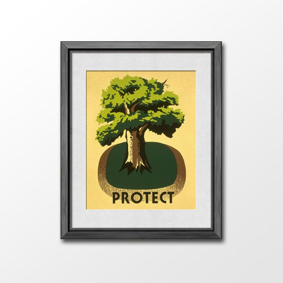 Protect Nature  8x10 illustration Art Print / Retro Wall by Vigrre, $8.90