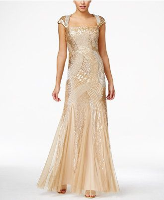 Adrianna Papell Sequin Beaded Ball Gown Dresses Women Macy S Ball Gown Dresses Gowns Evening Dresses With Sleeves