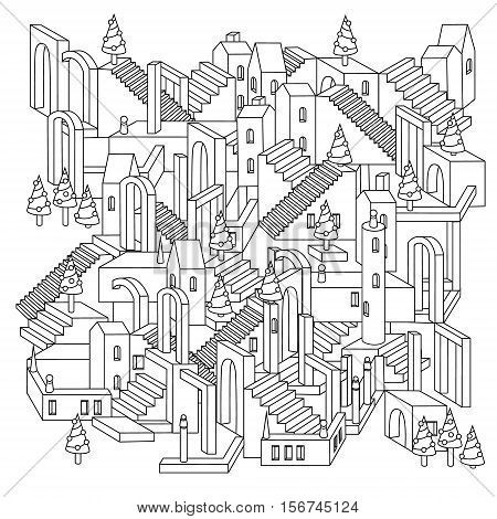 drawing of a non-existent unreal city maze with houses