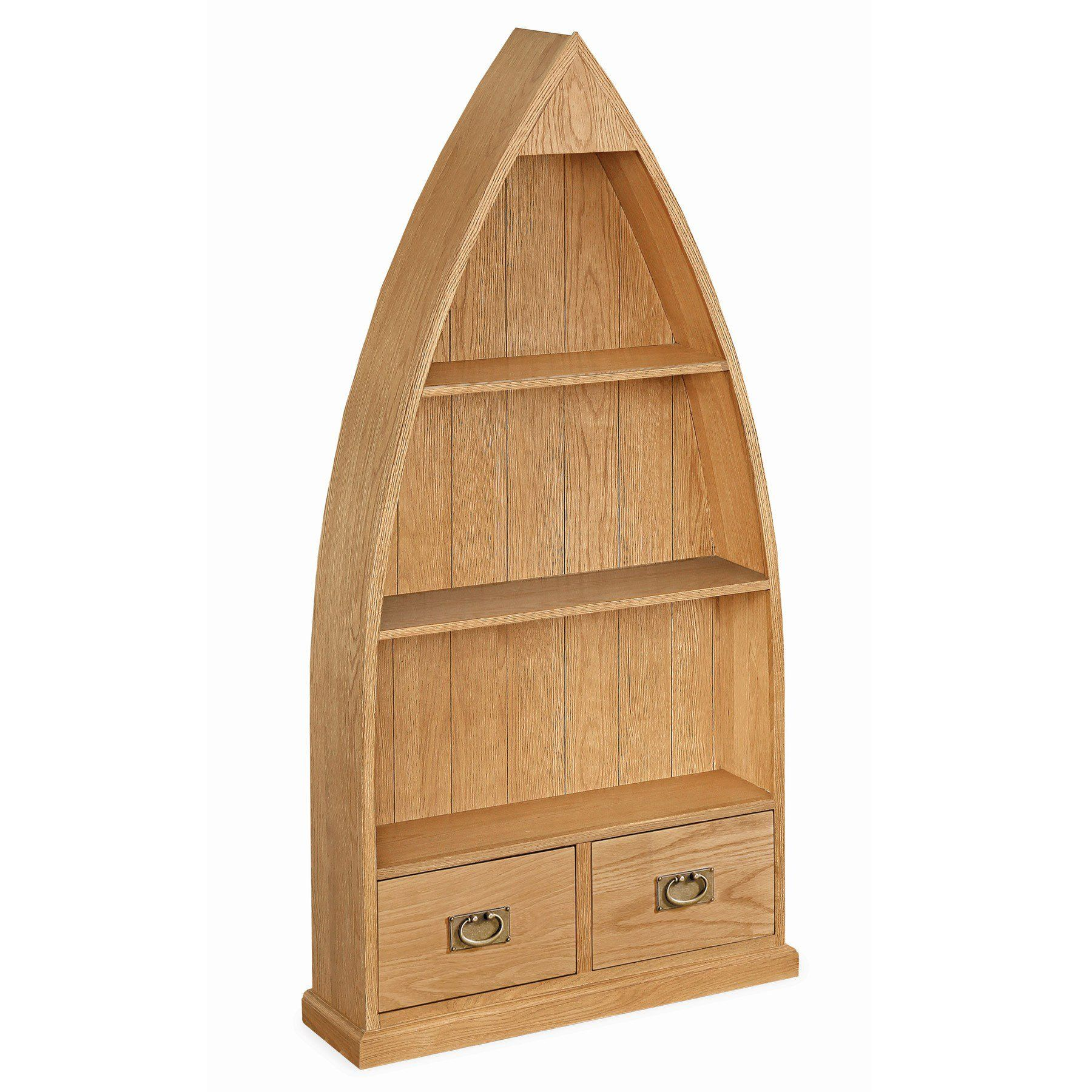 Dorset Light Oak 3 Shelf Boat Bookcase Boat Bookcase Solid Wood Shelves Bookcase