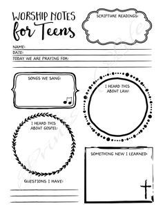 Worship Notes for Teens. Sermon Notes: boys, girls, youth, kids. PDF printable. Instant download. Church journal. Bible study guide planner.