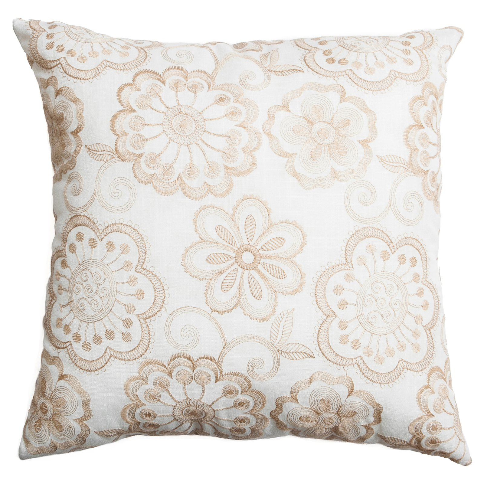 Softline Elkhart Floral Embroidered Decorative Pillow Champagne