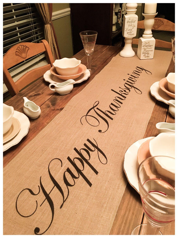 Burlap Table Runner Thanksgiving runner Happy Thanksgiving – Thanksgiving decorating Holiday decorating Home decor