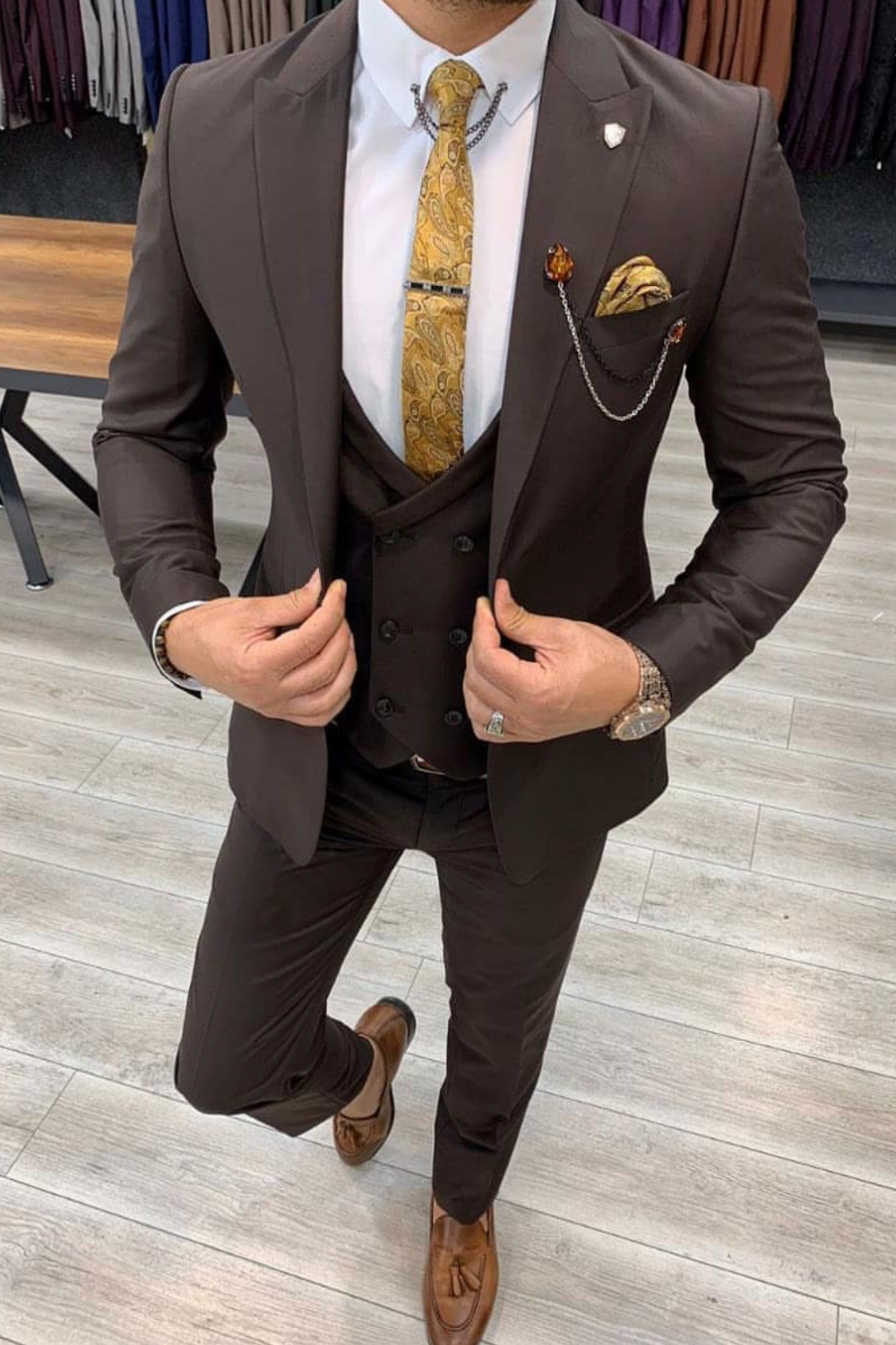 Men S Brown Three Piece Suit Groom Style Giorgenti Custom Suits Brooklyn Nyc In 2021 Three Piece Suit Groom Custom Tailored Suits Custom Suit