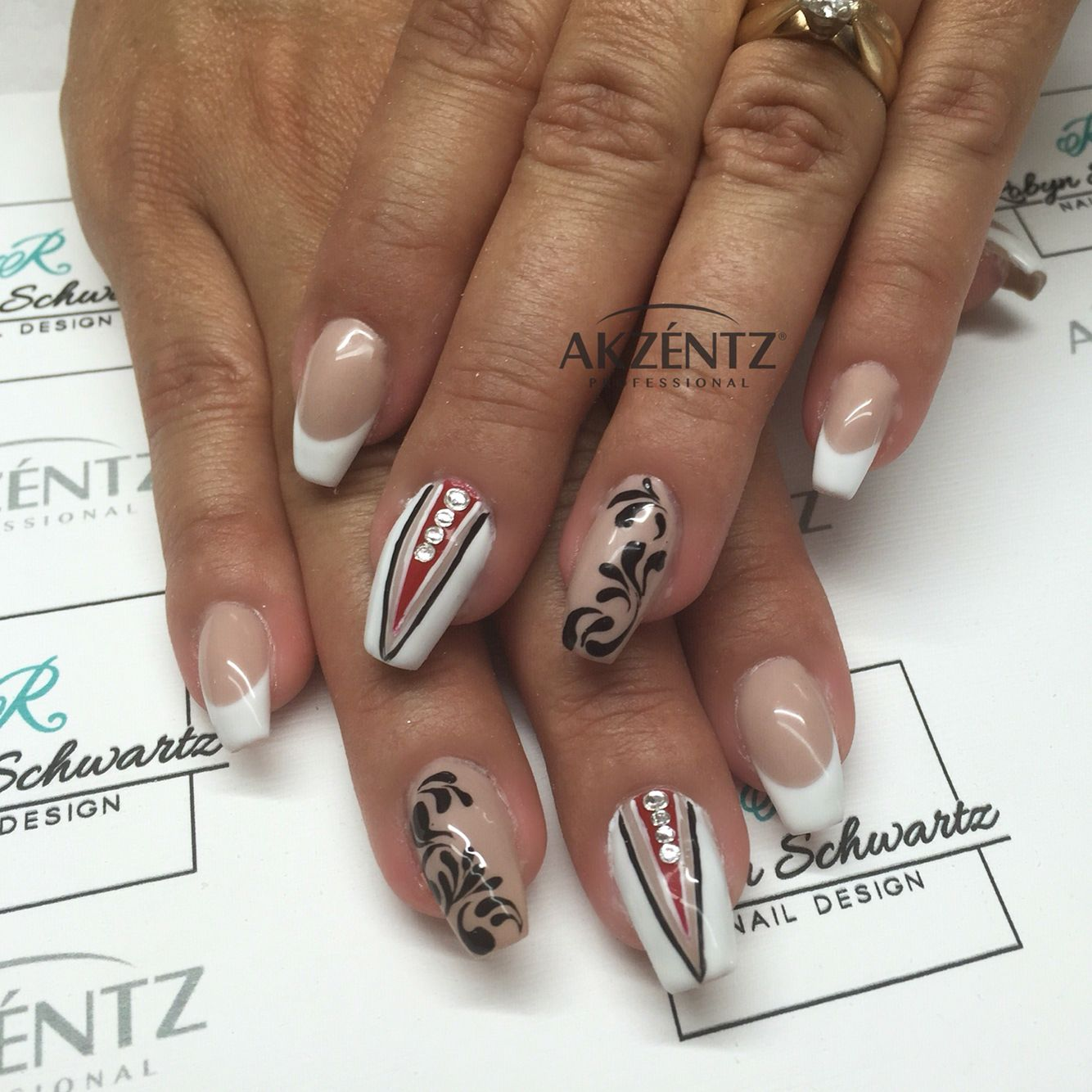 French with a twist. Coffin gel nails, nude nails, French nails ...