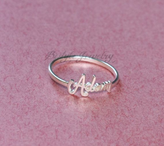 Personalized Names Ring - Dainty Ring - Adjustable Ring - Present Idea - Sterling Silver