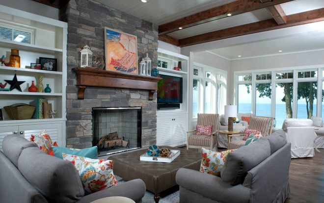 Living Room With Black River Ashlar Stone Fireplace. Wall Paint Color Is