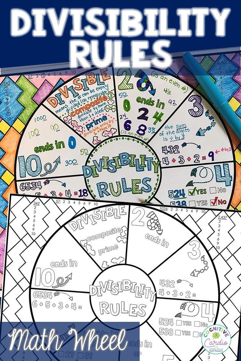 Divisibility Rules Math Wheel   Teaching math middle [ 1152 x 768 Pixel ]