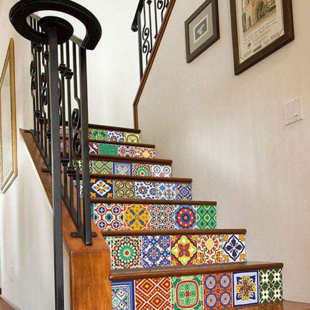 Azulejos para escaleras talavera 10 x 10 cm escalera - Vinilos para escaleras ...