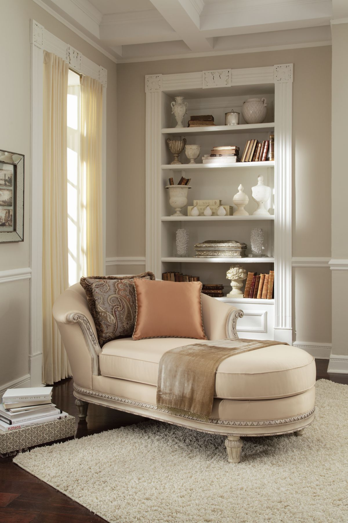 soft cream chaise with accent pillows schnadig