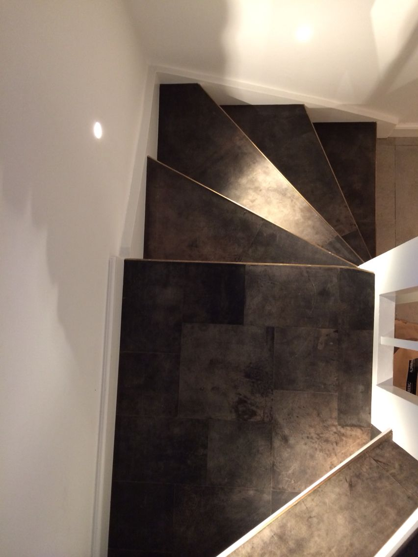 Tundra Grey staircase and entre Floor . All made in Leather tiles ...