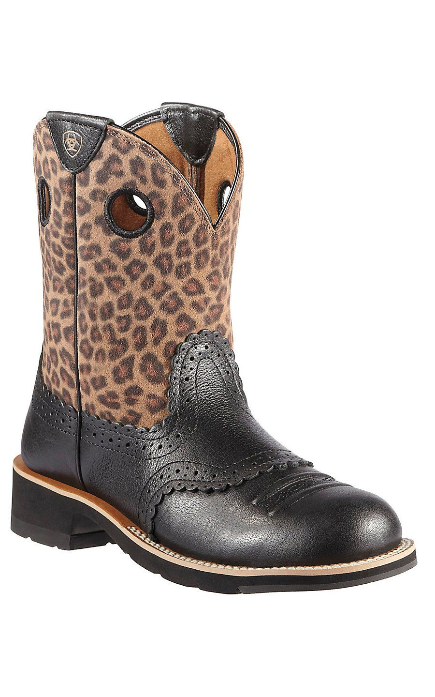 Ariat® Fatbaby Top Cowgirl™ Damens's schwarz Deertan with Leopard Print Top Fatbaby 6b95d4