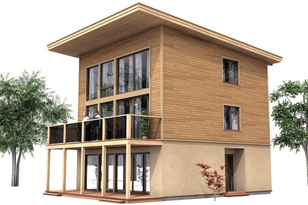Plano de casa moderna de 3 plantas con 3 dormitorios for Planos de casas modernas de 3 dormitorios