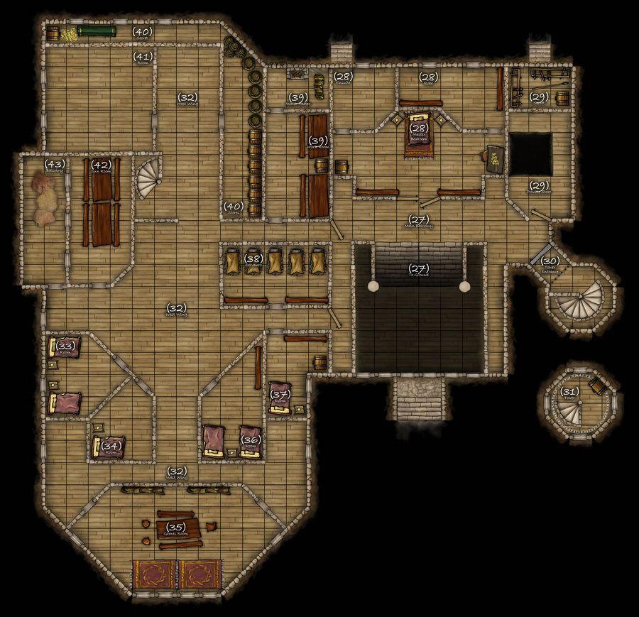 Dnd Mansion Map 2nd Floor By R3v3r53d Deviantart Com On