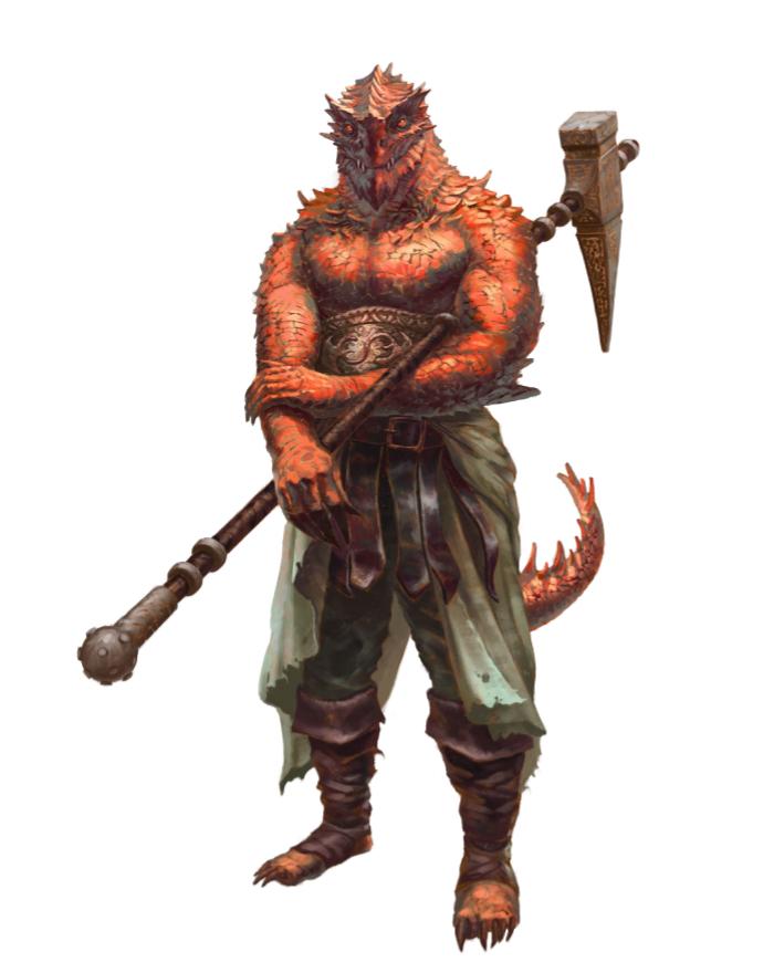 Red Dragonkin Half-Dragon Fighter Barbarian Warrior ...