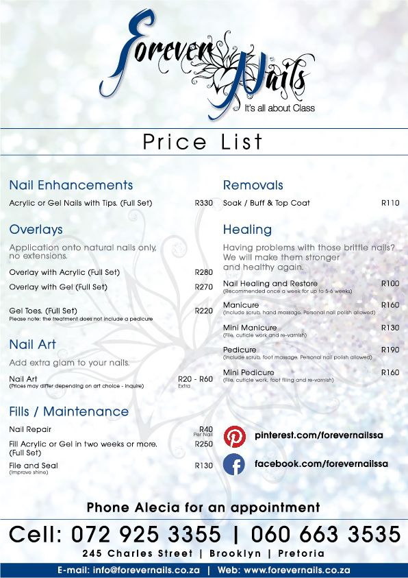 682a5d7fbc4 Forever Nails price list. | Forever Nails Specials | Nail salon ...