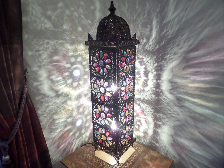 Large Moroccan Floor Lamp - 90cm x 21cm - Stylish Cutwork Jeweled ...