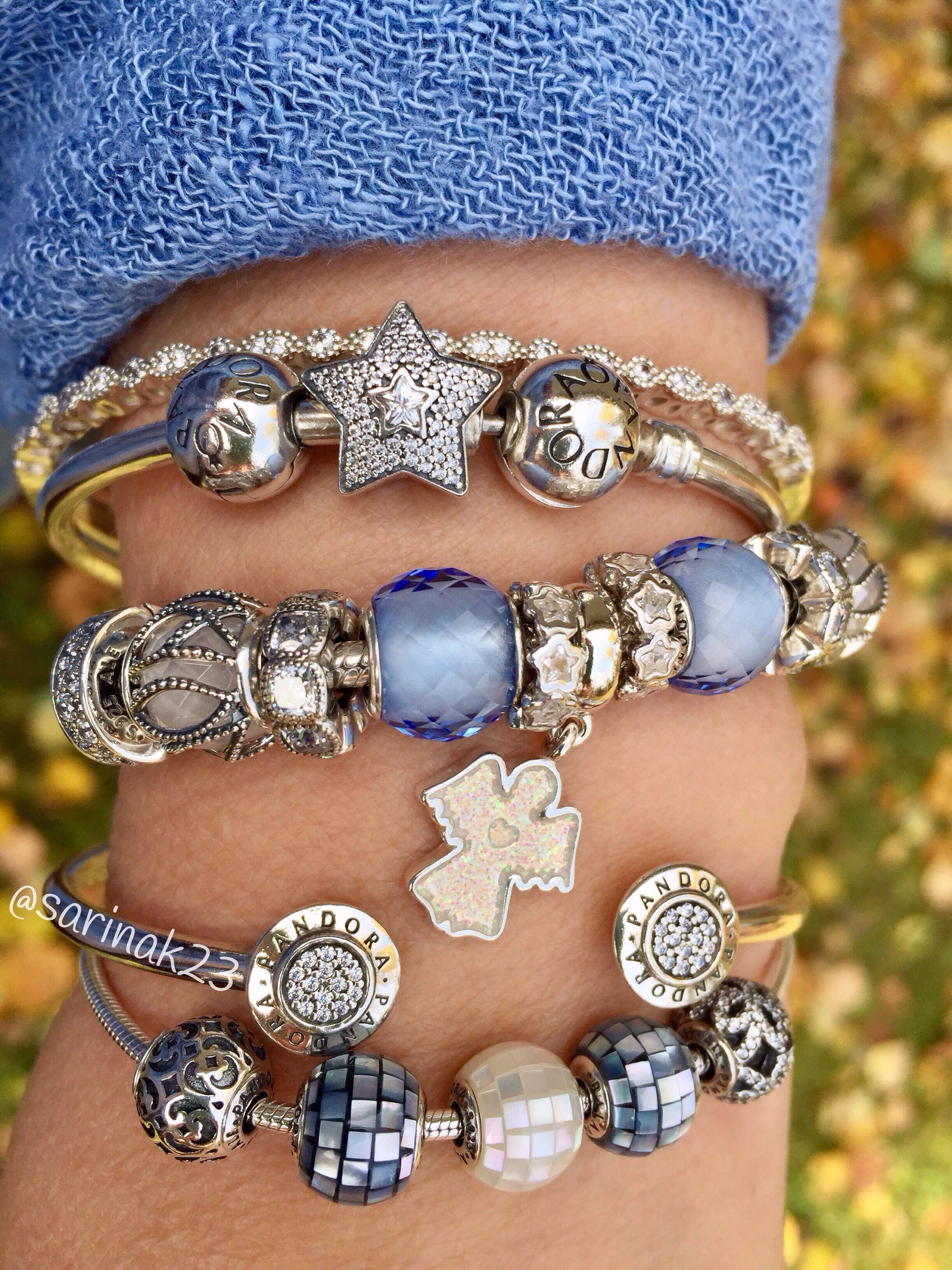 Heavenly blues and silver pandora beads and bracelets sarinak