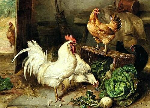 Edgar Hunt, Chickens and Cockerel in a Barn 1897