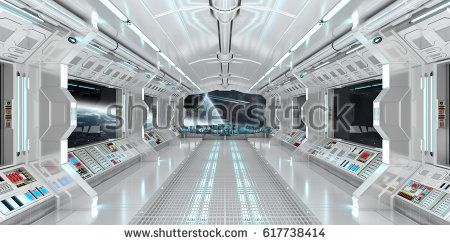 Spaceship Interior With View On Space And Distant Planets System 3D  Rendering Elements Of This Image