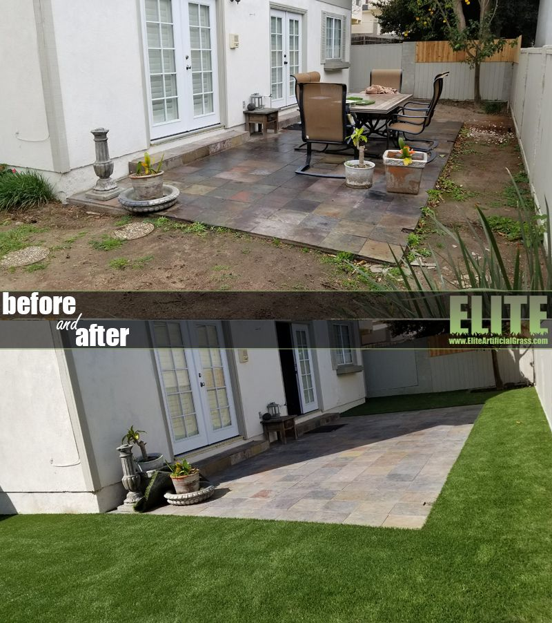 Before after syntheticgrass installation with images