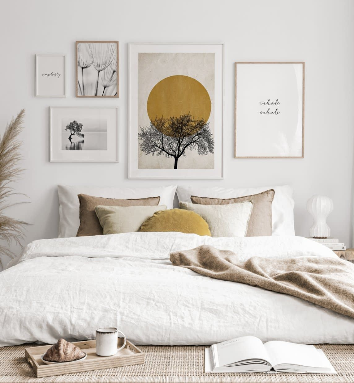 Beruhigende Bilderwand Wintermorgen Poster weiße Eichenrahmen
