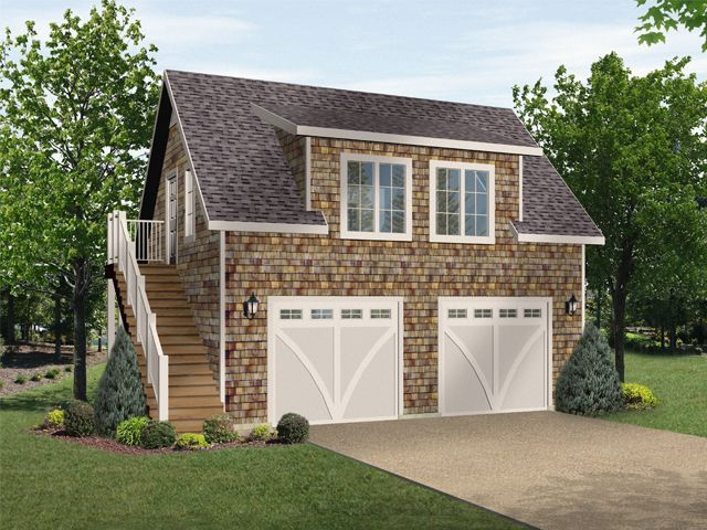Two car garage plan with loft and two dormers – Detached Garage Plans With Loft