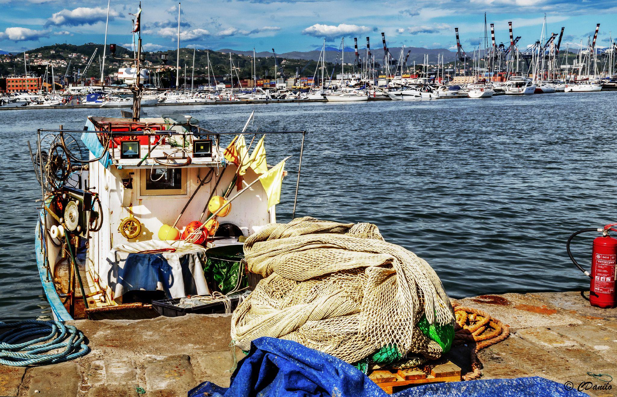 Barca Da Pesca Varricello E Reti Nel Golfo Boat Fish Fishnet