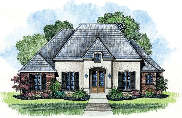 Plan 56323sm French Country With Rear Courtyard French Country House Plans Country House Plans French Country House