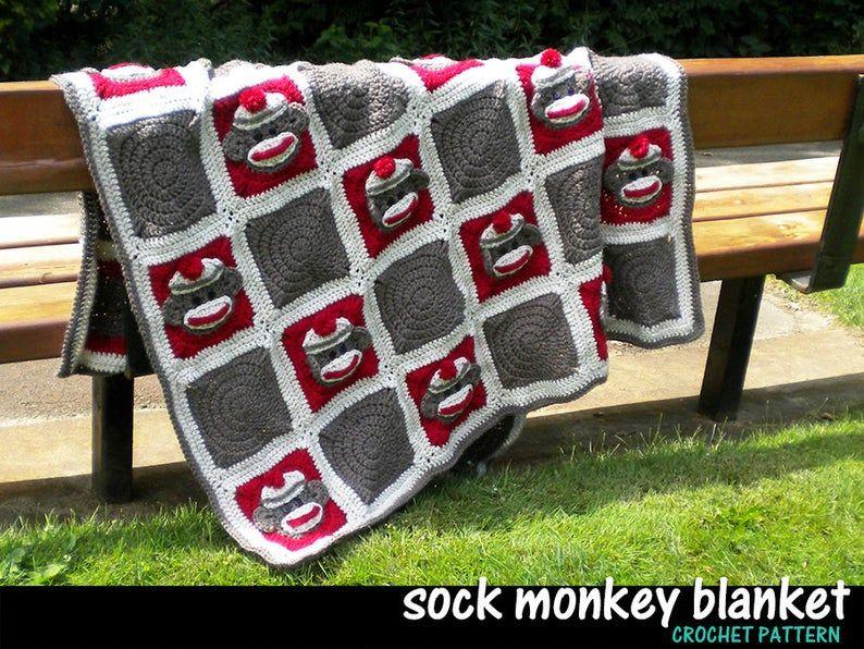 Sock Monkey Baby Blanket Crochet Pattern