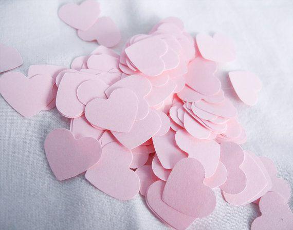 Heart Paper Confetti, 200 PInk Confetti, Wedding, Baby or Bridal - confeti