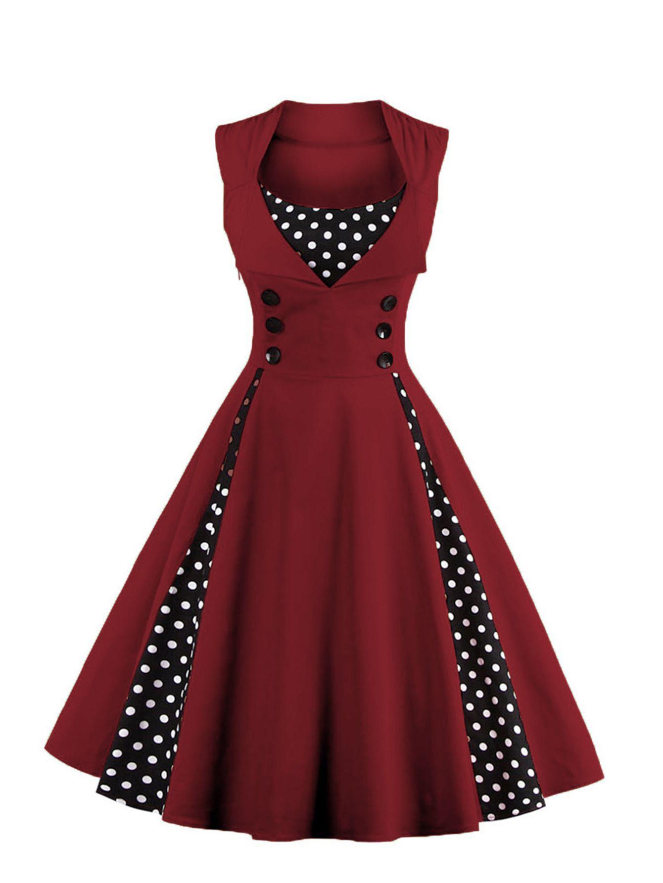Vestido Doblado De Lunares Spanish Shein Sheinside Vestidos De Fiesta Elegantes Vestidos De Mujer Vestidos De Moda