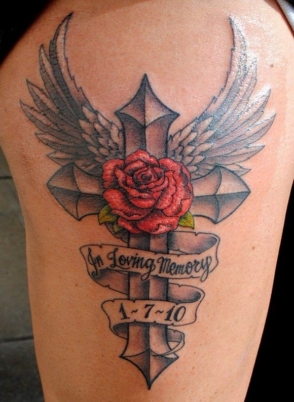 "26420176d Memorial+Wrist+Tattoos+for+Son | ... loving Memory"" a beautiful rose and  cross, amazing memorial tattoo"