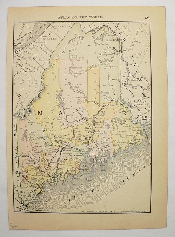 Antique Map Of Maine Vintage Maryland Map ME MD Maine Gift - Antique map of maine