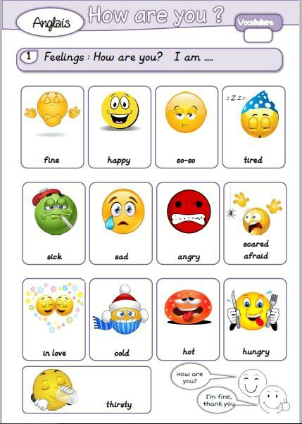 anglais - vocabulaire - feelings