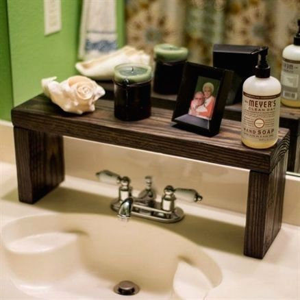 Photo of Rustic Wood Shelf, Bathroom Sink Shelf, Moden Farmhouse bathroom Decor, Plant Shelf, Wood Plant Stand, Countertop Shelf, Storage Shelf