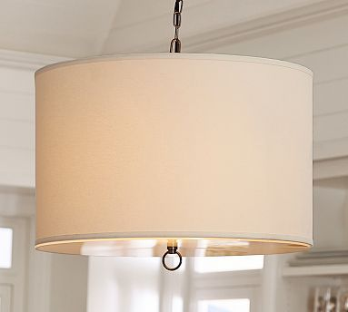 linen drum hardwire pendant, large, ivory at pottery barnlinen drum pendant potterybarn would love to do something like this over the kitchen table