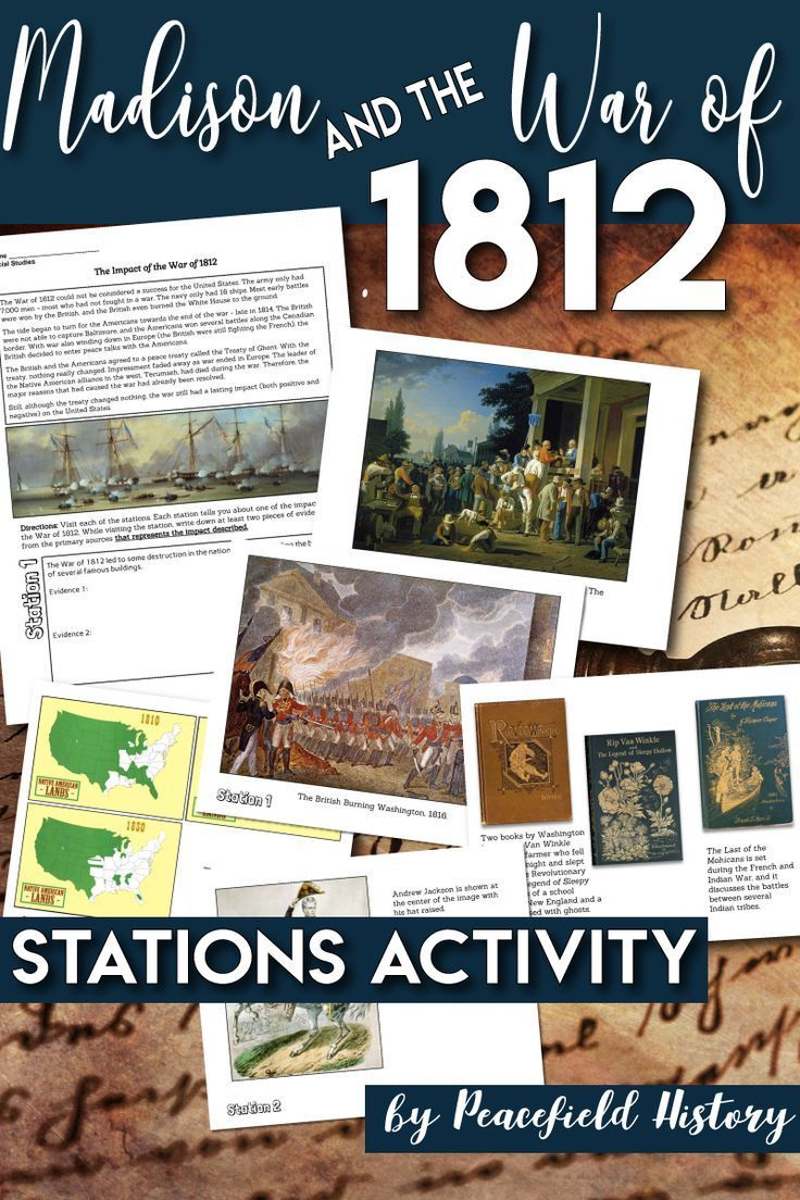 Photo of James Madison the War of 1812 Causes and Impact Stations Activity